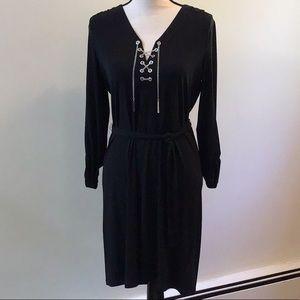 NWT Michael Kors Black Chain Lace Up Dress